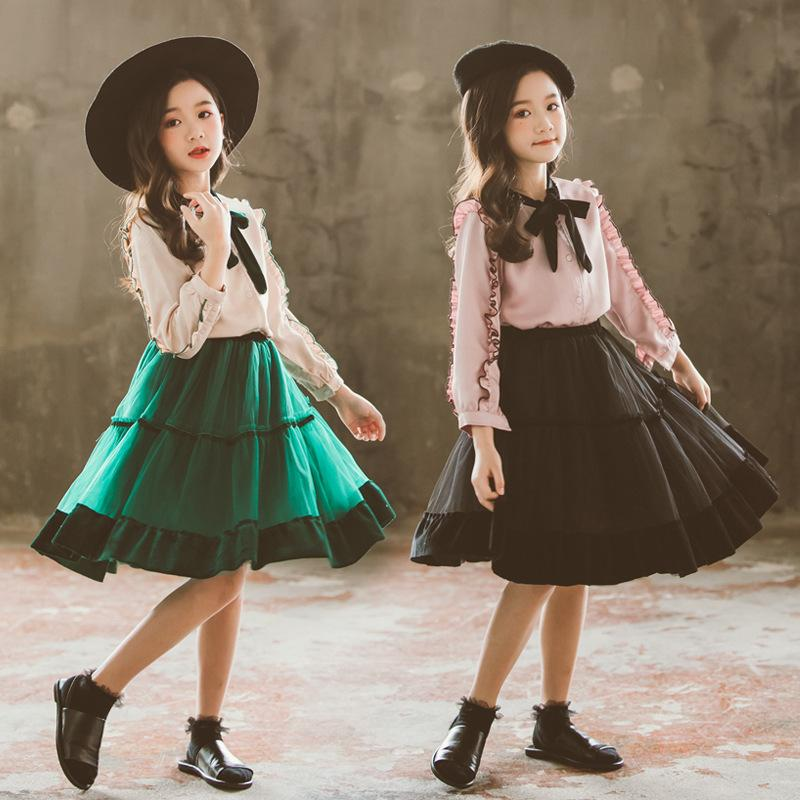 f222097fc 2019 Clothes For Girl 2019 Kids Spring New Korean Girls Shirt + Mesh ...