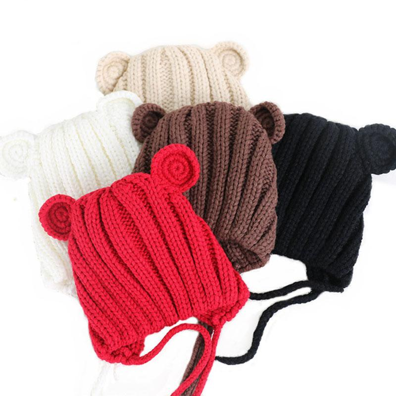 ba6c2a8c6 1 Piece Knitted Winter Baby Hat with Cute Ears Cartoon Lace-up Children  Kids Baby Bonnet Cap for 1-3 Years Colorful Nice Hat
