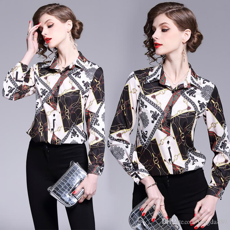 7e5aa79f491490 2019 Spring Summer Fall Fashion Luxury Floral Print Collar Women Casual OL  Office Button Front Long Sleeve Top Shirt Blouse Online with $23.99/Piece  on ...