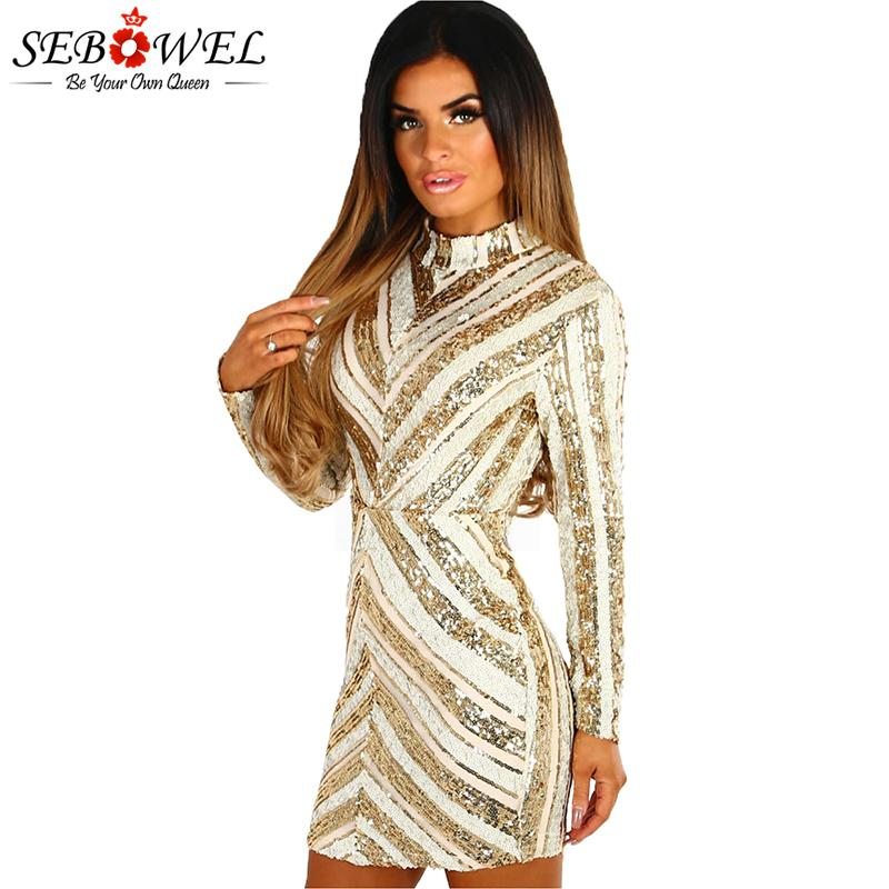 87b4160e1dd6 SEBOWEL Nude And Gold Sequin Party Dress Women Long Sleeve Mini Bodycon  Glitter Club Dress Lady Sexy Shine Sparkly Evening Gown Casual Party Dress  Grey ...