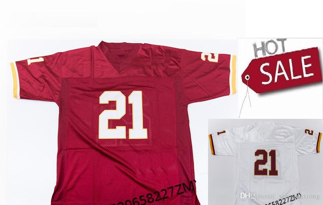 free shipping 8f379 651e2 Mens NCAA #21 Sean Taylor Football Jersey Red white Jerseys Retro star  Embroidered Throwback American Football Jersey shirts High-quality