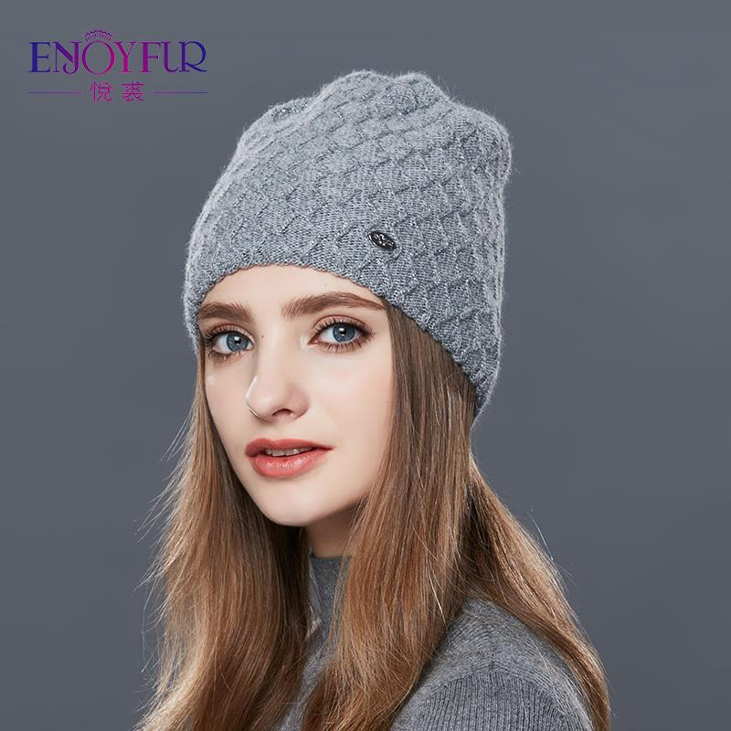 ENJOYFUR Cashmere Knitted Women's Hats Diamond Lattice Winter Hat Female Thick Cashmere Gravity Falls Cap Youth Wool Beanies S18120302