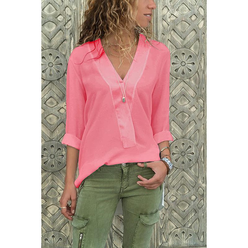 8372c7717d8 Women Shirts Blouse 2019 Spring Elegant Long-sleeved Solid Color V ...