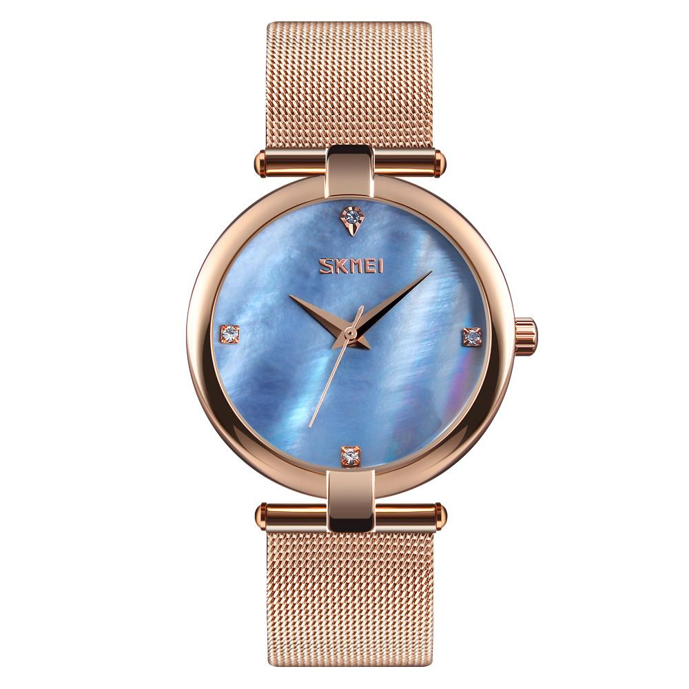 037ff3416 SKMEI Fashion Women's Quartz Watch Mesh Stainless Steel Watchband Elegant  Simple Ladies Dress Wristwatches 9177