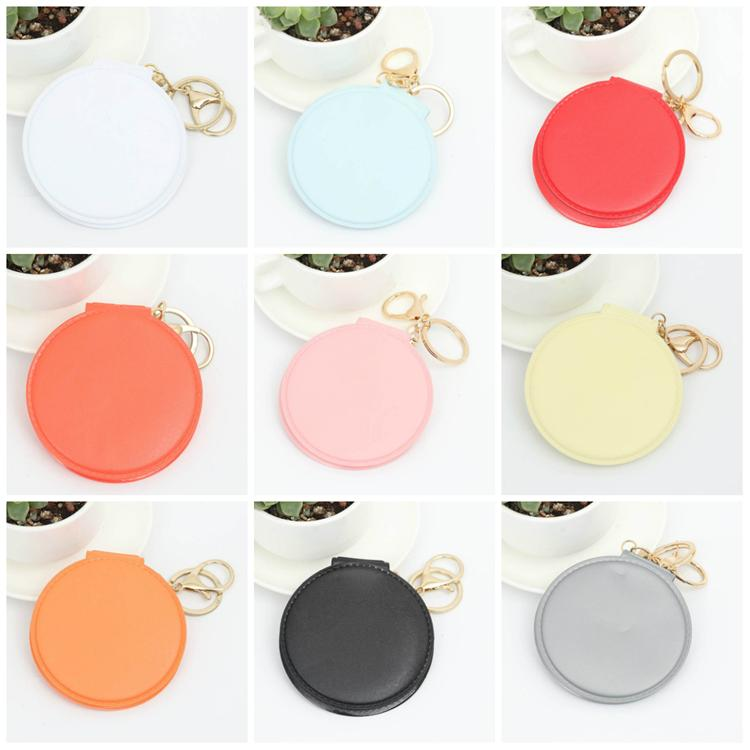 Fashion Double-sided folding mini mirror leather makeup small round mirror creative leather waterproof buckless pocket mirror T3I5401