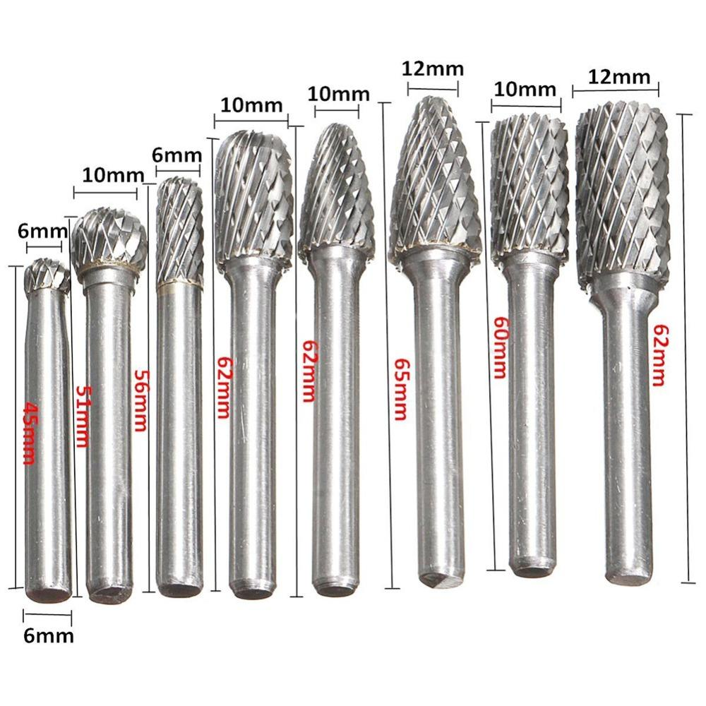 8pcs/ 1/4 Inch 6mm Tungsten Carbide Burr Bits Rotary Files CNC Engraving Tool For Power Tool 8pcs/set 1/4 Inch 6mm Tungsten