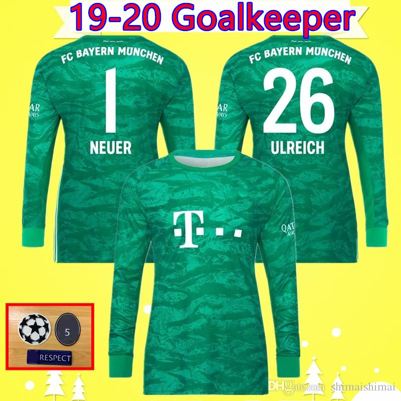 super popular 764f6 f2386 #1 NEUER 19/20 bayern munich Goalkeeper soccer jersey home green 2019 2020  football shirt #26 ULREICH Camiseta long sleeve munchen Maillot