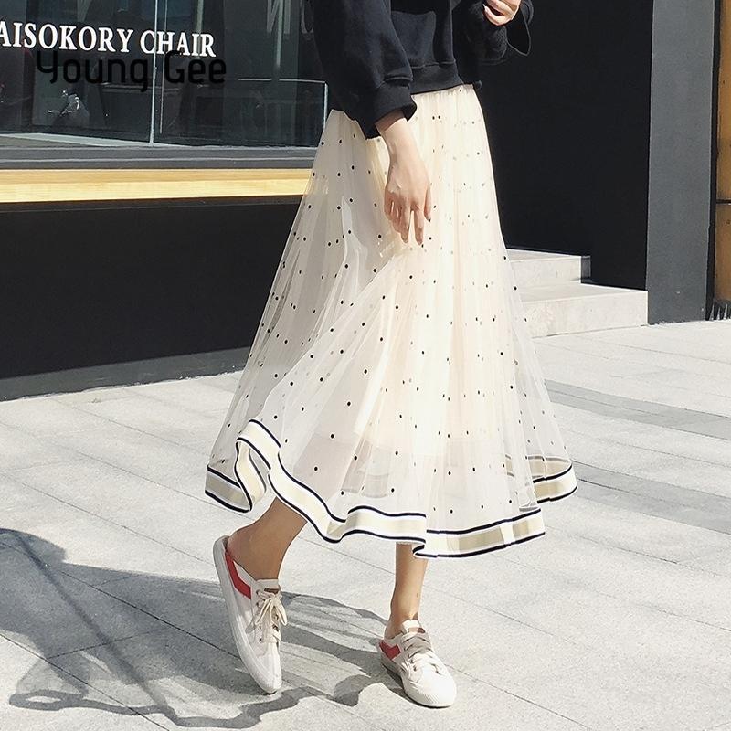 797594e901daf Young Gee Polka Dot Mesh Women Black White Pink Fashion Mid-calf Skirts  Summer Elegant Pleated Lace Skirt Saia Midi Faldas Q190522