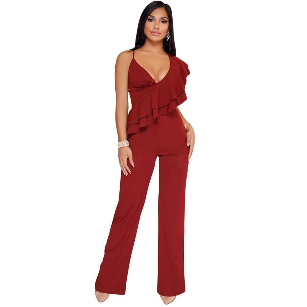 3f0599cdf768b1 2019 Elegant Ruffles Sexy Jumpsuit One Shoulder Strap Backless Overalls For  Women Wide Leg Playsuit Rompers Womens Jumpsuit Black/Red From Bibei02, ...