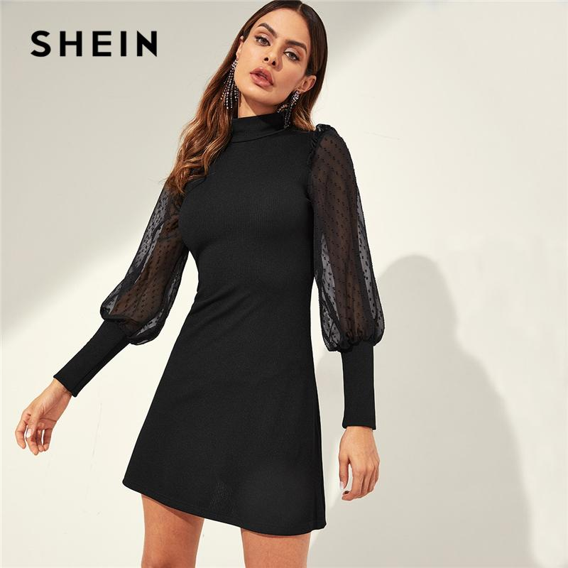 41efb8a279 SHEIN Black Mesh Sleeve Mock-neck Frill Shoulder Keyhole Back Ribbed Knit  Tunic Dress Women Autumn Office Ladies Slim Dresses Dresses Cheap Dresses  SHEIN ...