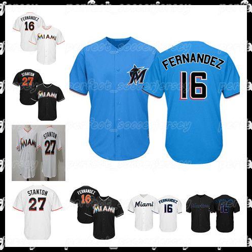 newest ca1c9 ac797 Reter jersey Miami jerseyMarlins 16 Jose Fernandez 27 Giancarlo Stanton  Embroidered baseball jersey ball logo M-XXXL