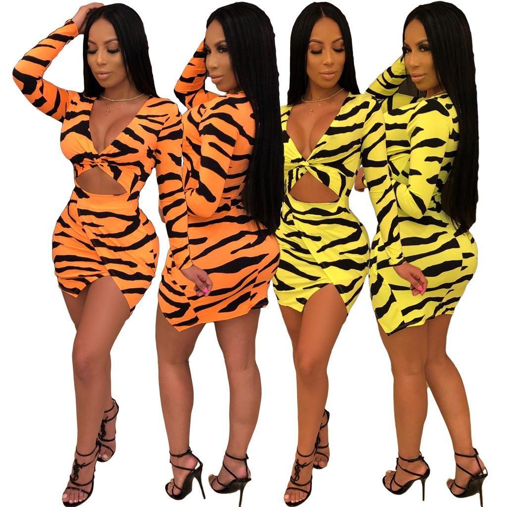 6de422c1a4fa 2019 Zebra Printed Sexy Bandage Dress Women Yellow Deep V Neck Long ...