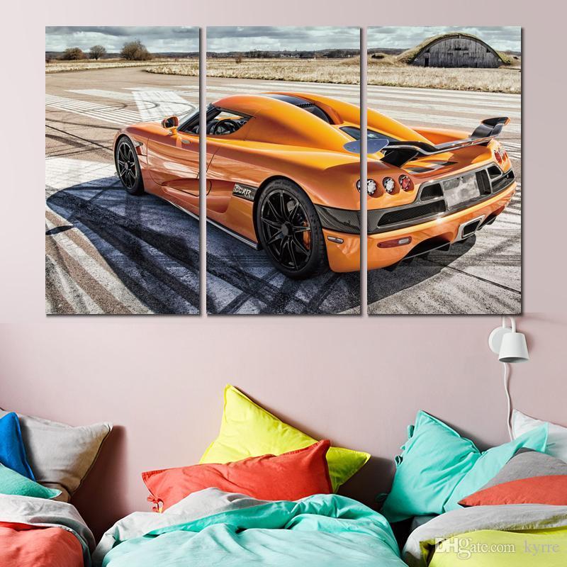 3 séries de tirages affiches koenigsegg ccxr toile orange arts images murales pour la décoration