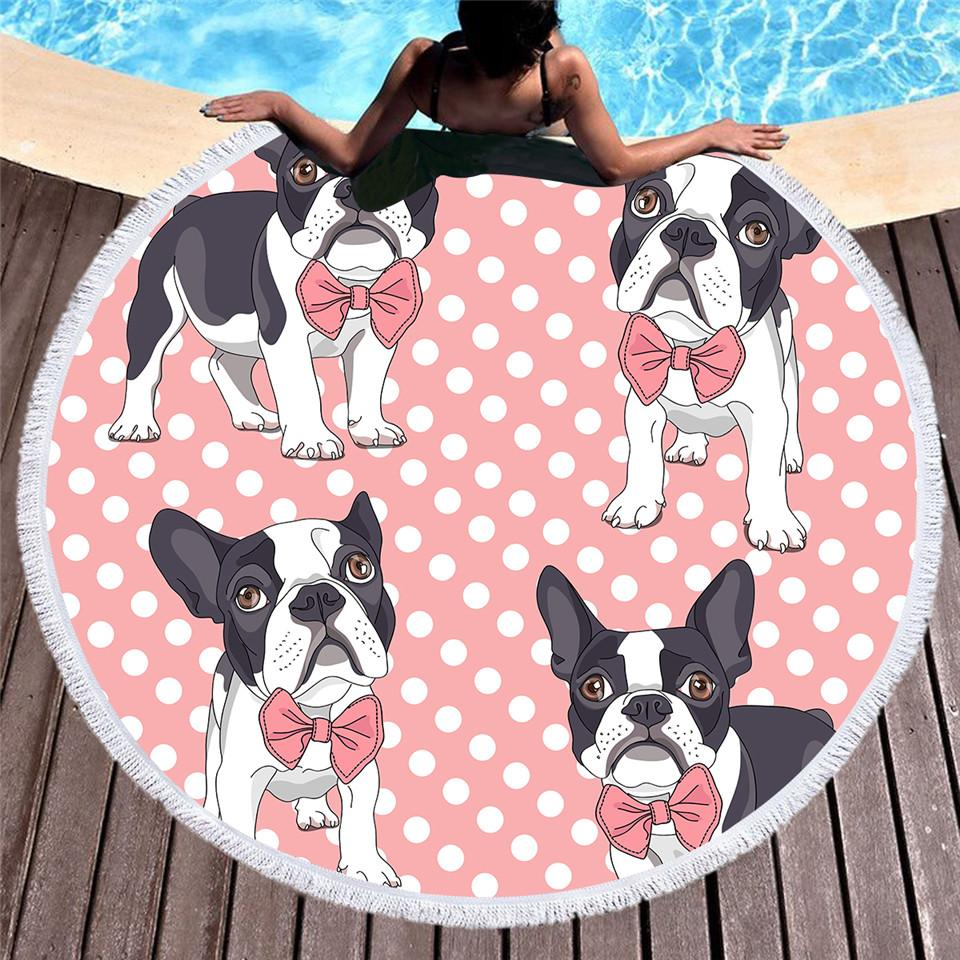1 Pcs Round Beach Towel for kids Microfiber Bow Tie Bulldog Large Summer Towel Toalla Cartoon 150cm Dog Pink Picnic Mat