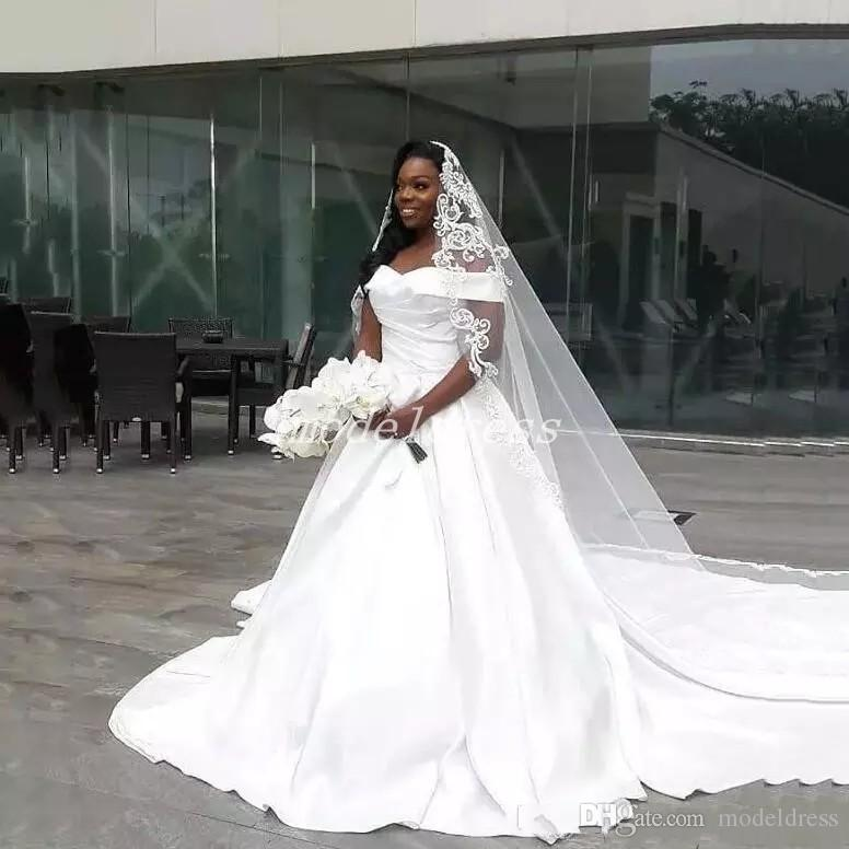 Celebrity Wedding Outfits 2019: Discount Plain White African Wedding Dresses 2019 Off