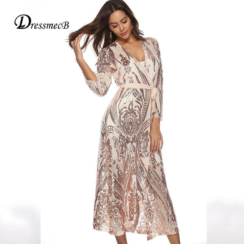 meet c3e67 98299 DRESSMECB 2019 Vestito longuette estivo Donna Oro nero con paillettes Abiti  sexy Night Clubwear Vestito aderente Cintura Vestido