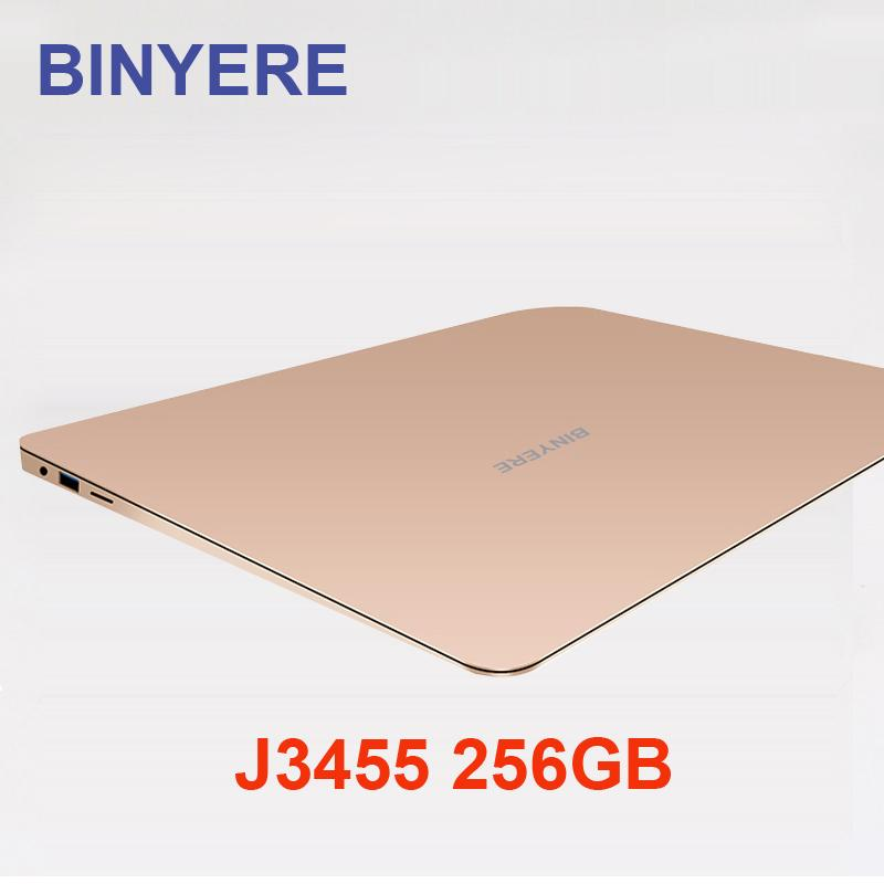 BINYERE Laptop 13,3 Zoll 6 GB RAM DDR3 256 GB SSD ROM Notebook-Computer IPS-Bildschirm intel J3455 Quad Core Ultrabook für Game Office
