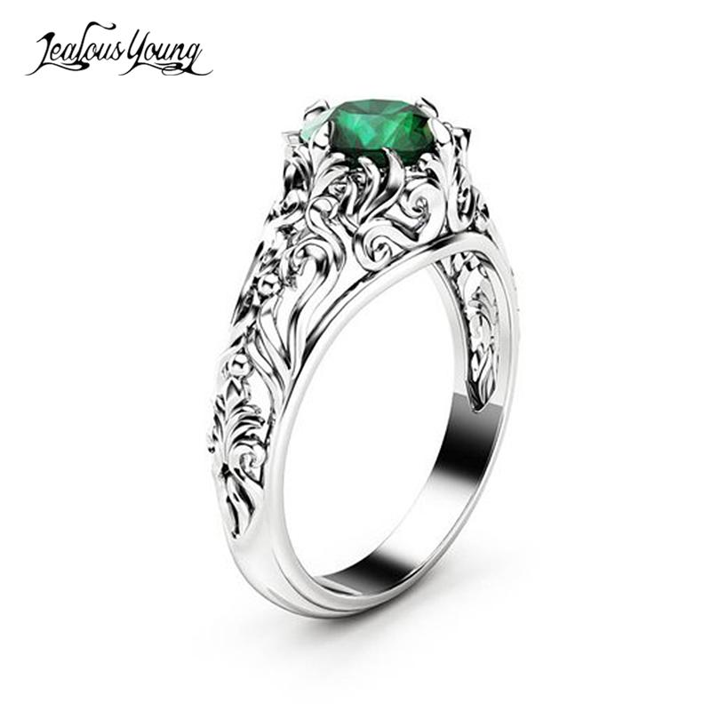 Gothic Wedding Rings.Gothic Green Crystal Cubic Zirconis Wedding Ring With White Silver Color Cz Stone Rings For Women Party Jewelry Gift Anillos