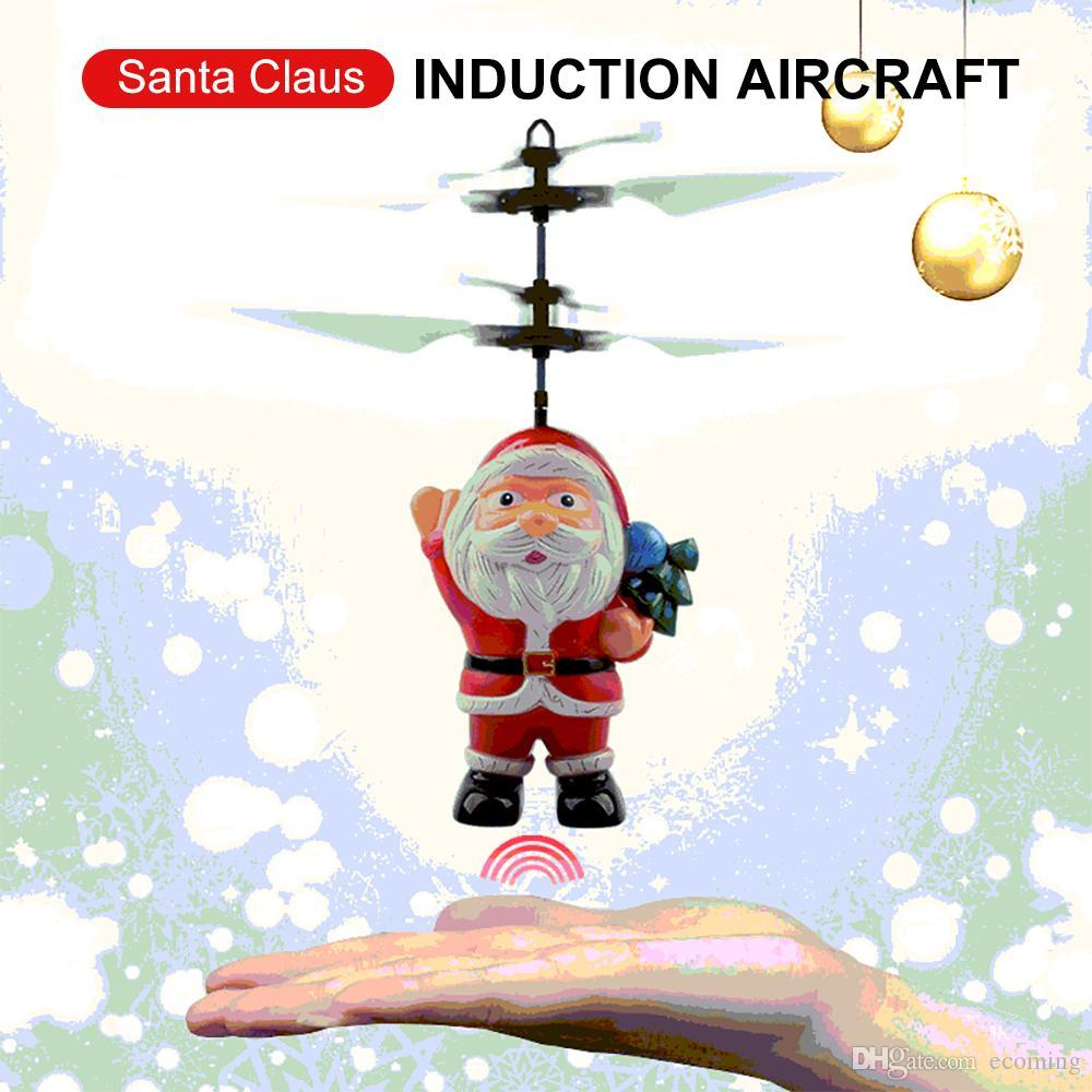 Flying Inductive Mini RC Drone Christmas Santa Claus Induction Aircraft RC Helicopter for Kids Christmas Gifts