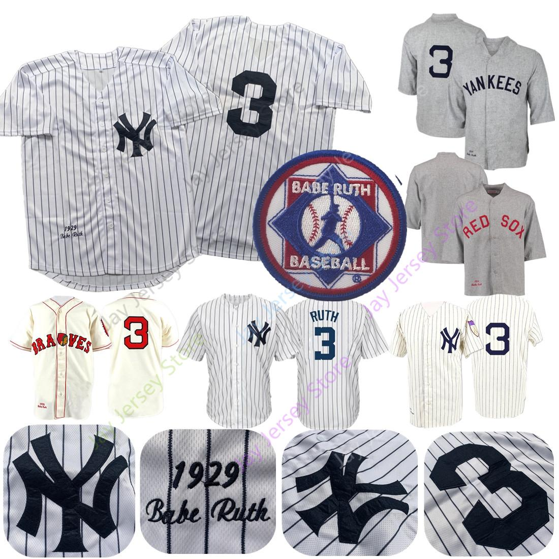 sale retailer ab91b 84f8c Babe Ruth Jersey Men Women Youth Yankees 1929 Cooperstown Boston Braves  Cream White Pinstripe Grey Black Home Away All Stitched