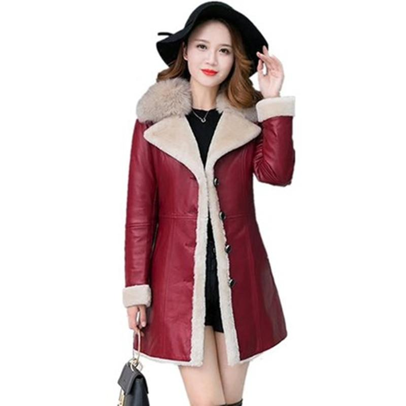 af2ea176662 2019 Sheepskin Coat Women 2018Winter Leather Jacket Female Black Wine Shearling  Coat Fur Collar Plus Size Warm Leather Top Outerwear From Clothwelldone