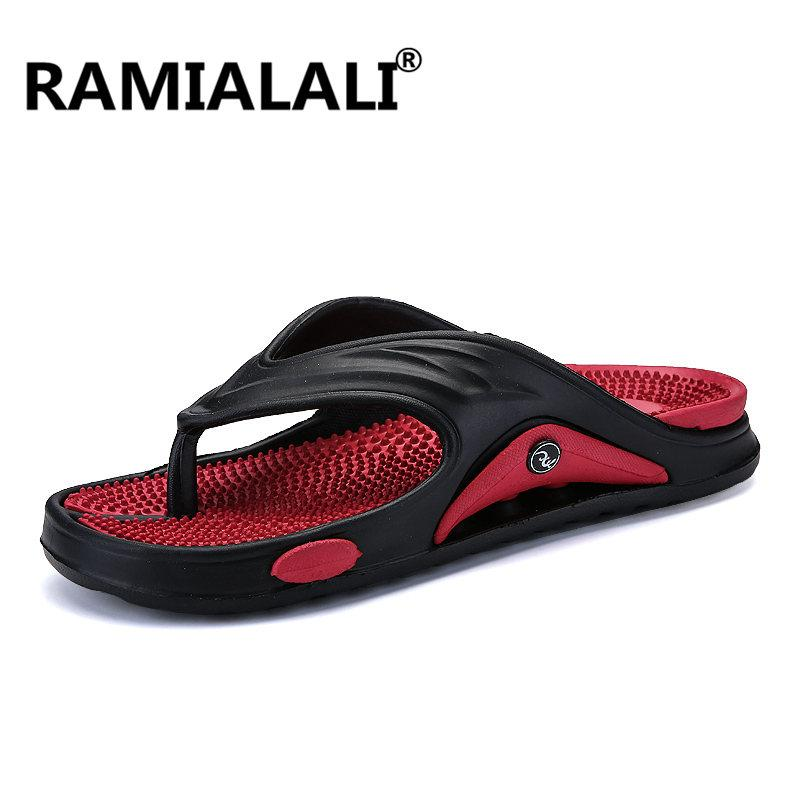 Flip Flops Men's Shoes Ramialali Summer Style Casual Beach Male Flip Flops Adult Leather Slipper Soft Light Non Slip Quality Walking Slippers Men Shoes High Quality Goods