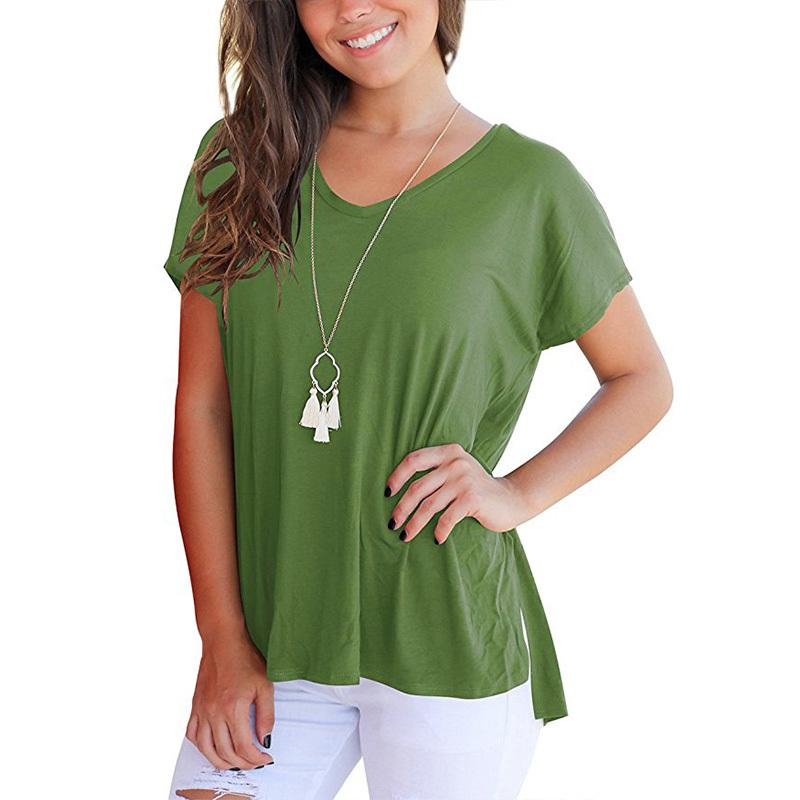 2990bded152 New Arrival 2019 Women Blouse Casual Solid Batwing Short Sleeve ...