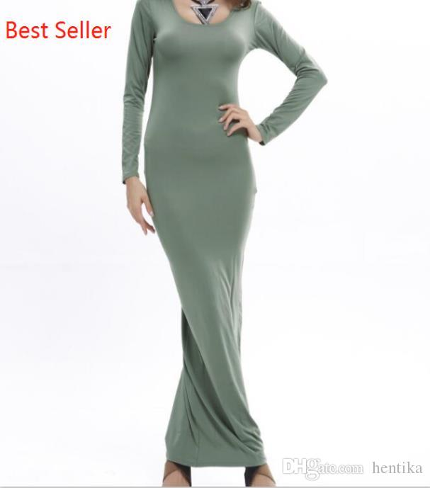 aa02195012 Ladies Maxi Dress Long Sleeve Round Neck Bodycon Casual Slim Best Seller  Simple Style S XL Women Casual Dress Sundress For Sale Party Dresses Junior  From ...