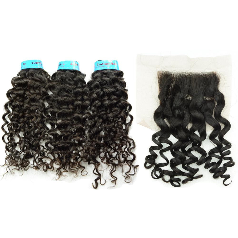 Curly Indian Virgin Hair Bundles with Lace Closure 4x4 Double Strong Wefts Grade 10A Italy Curl Cheap Affordable Natural Black Color