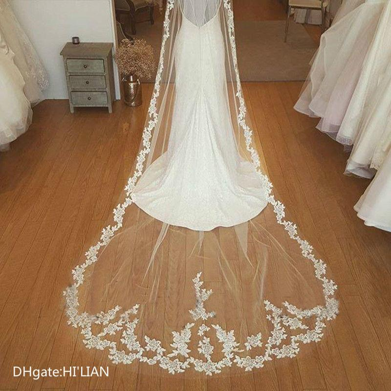 Cathedral White Ivory lace Bridal Veil 1 layer wedding Long veils with comb Formal Wedding Occasion Fashion Long Headwear Women