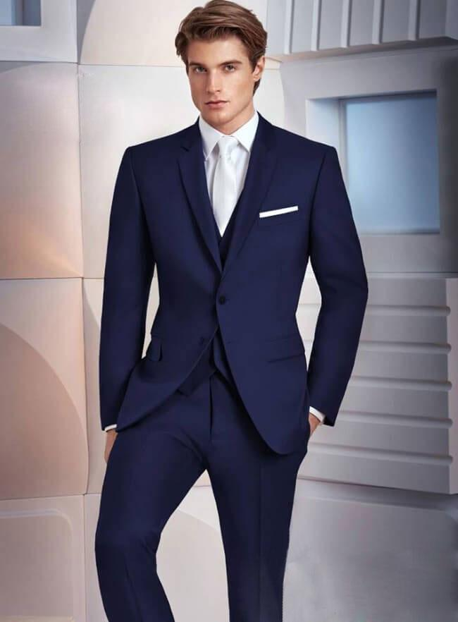 Custom Made Navy Blue Men Suits For Wedding Slim Fit Groomsmen Tuxedos Two Buttons Handsome Wedding Suit (Jacket+Pants+Vest)