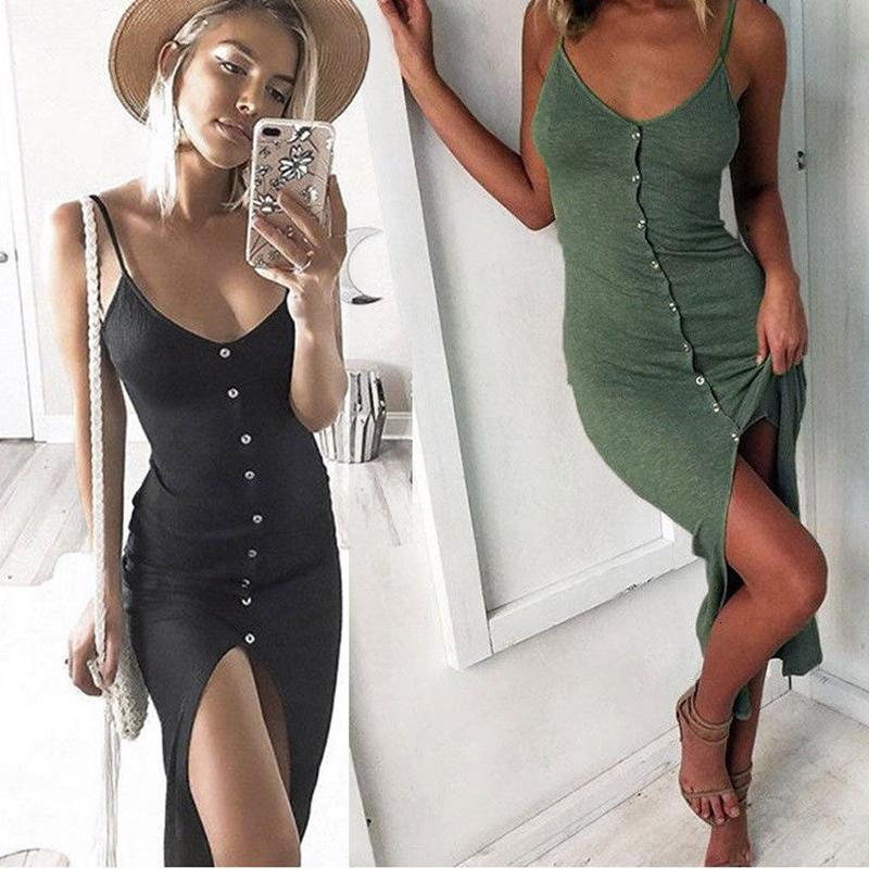 Womens Dress Women Clothes Summer Newly Sexy Fashion Dress Women Ladies Sleeveless Skinny Solid Button Ankle Length Dress