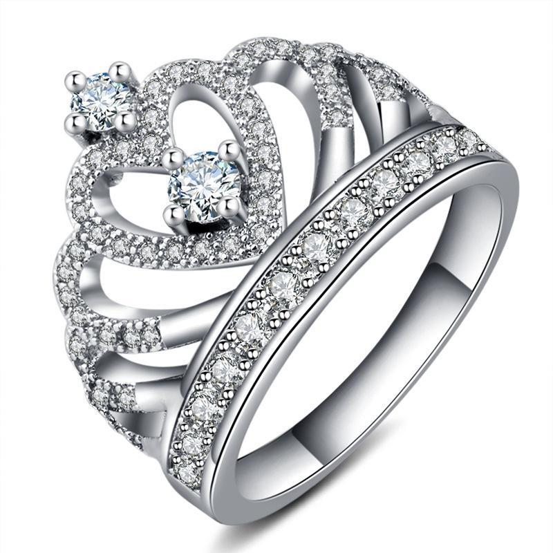 e275c453b0a Acheter 2019 Nouvelle Mode De Luxe Argent Zircon Couronne Anneau Femmes De Mariage  Bague De Fiançailles Zircon Cristal Anneaux Pour Les Femmes Romantique ...