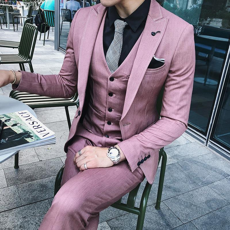 8916aea7fe4 2019 Suit Brand New Korean Slim Fit Casual Business Dress Suits Mens ...