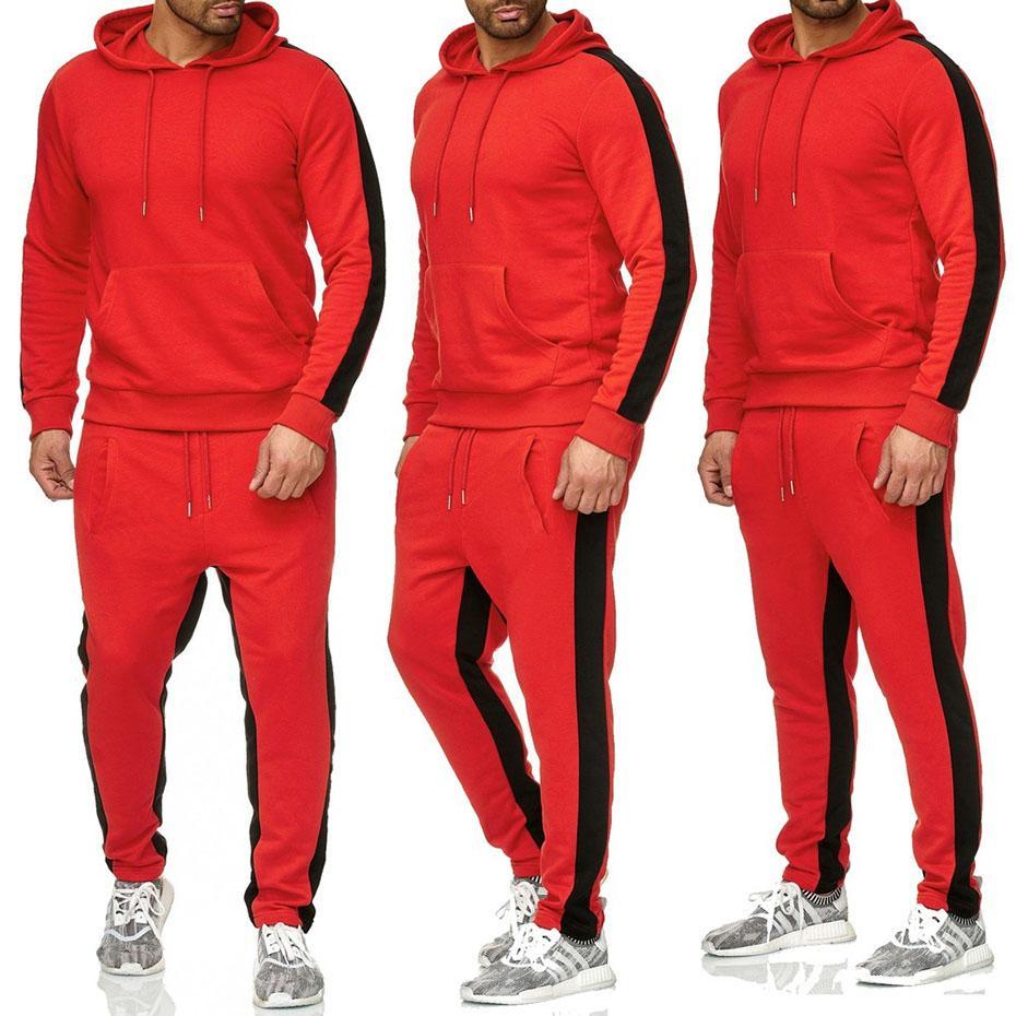 e21200e2caea Zogaa Brand Gyms Bodybuilding Sets Men s Pocket Hooded+pants ...