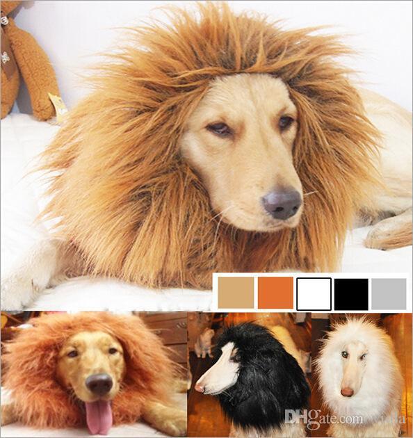 100 Stücke Halloween Haustier Hund Katze Hirewig Kostüm Kleidung Lustige Lion Mähne Perücke Kopf Warme Mütze 4 Farben