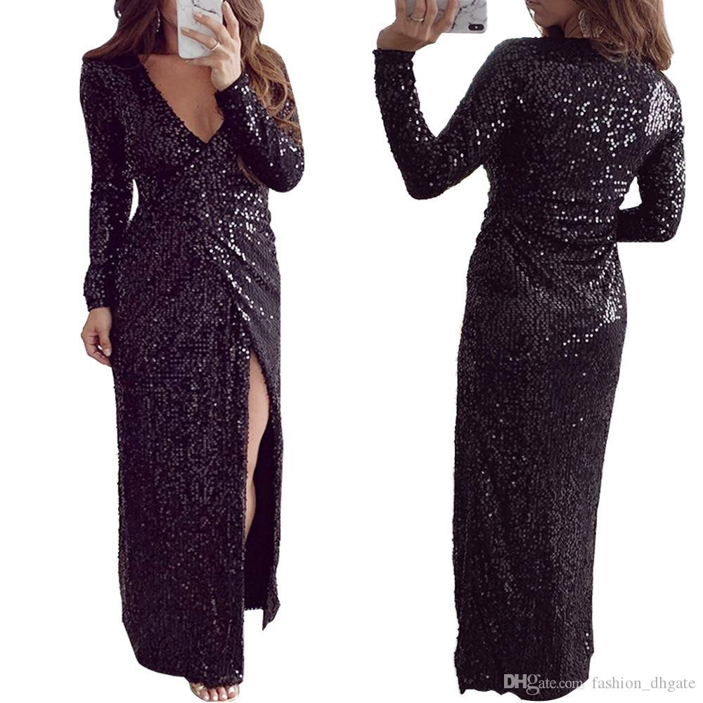 f4e26708ad Autumn New Hot Fashion Elegant 2019 Women Dress Sexy Style Solid Deep  V-Neck Full Sleeve Hollow Out Maxi Dress Black Color