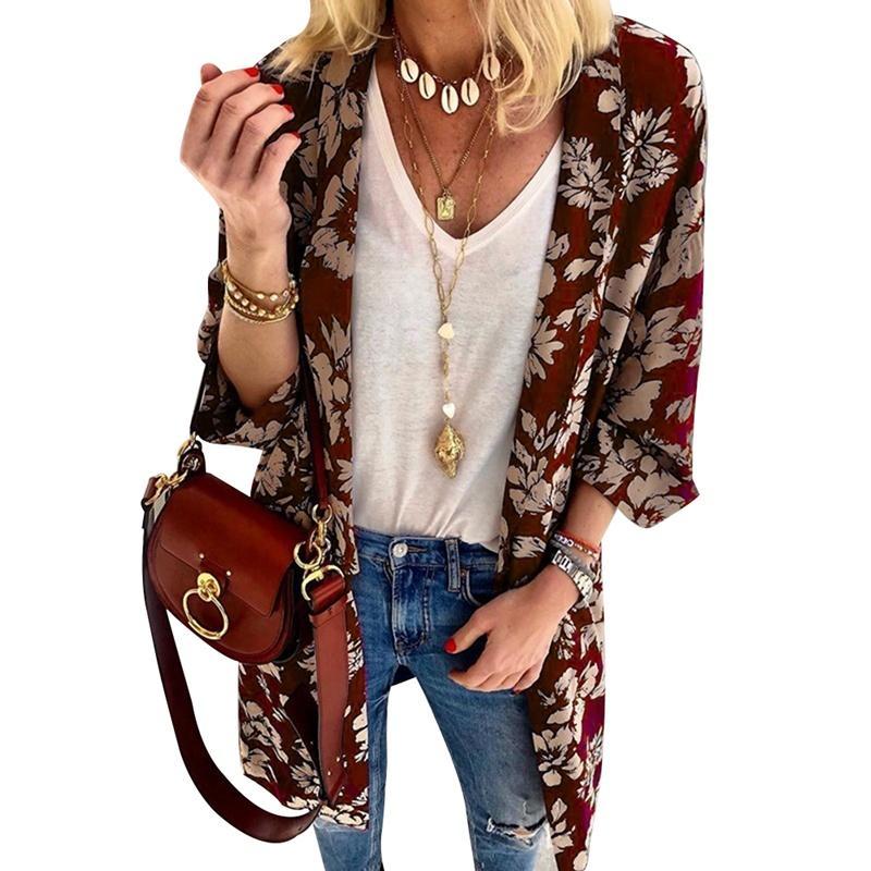 Cape Knits Kimono Coat Bohemian Blumendruck Frauen Jacket Cardigan Shirt Bluse Schal Boho Vintage Lose QrxothdCBs