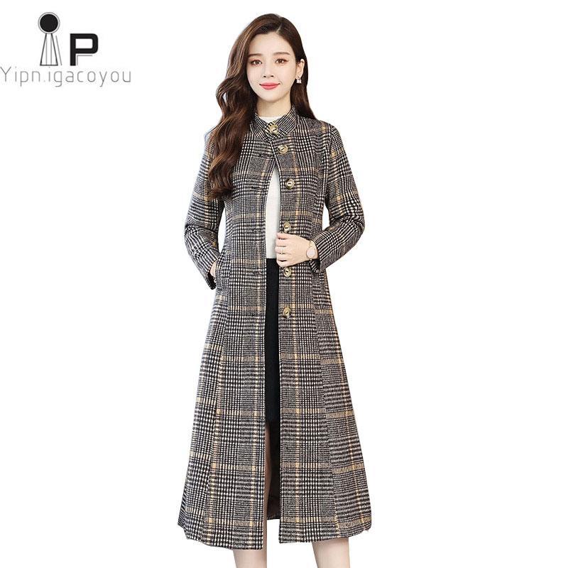 1d882127dfe0 Abrigo de lana mujer 2019 Otoño Invierno Nueva Moda Popular Plaid Sección  Larga de Gran Tamaño Chaqueta de Lana Delgada Elegante Señoras Abrigos 3XL