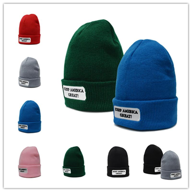 Trump Winter Knit Beanies KEEP AMERICA GREAT Letter Print Hats ... 51d25649301