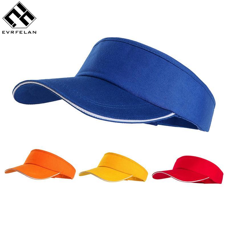 1a82b220 Evrfelan Fashion Hats For Women's Sport Sun Hat Women Empty Top Visor Solid  Color Caps Adjustable Size Outdoor bone Dropshipping
