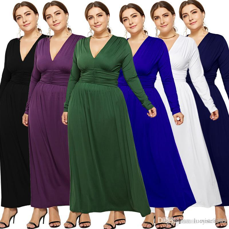 0a698d36c80e Women Sexy Plus Size Spring Summer Dress Ladies Deep V Neck Long Sleeve Casual  Dress Female Big Size Home Maxi Dress LM3105 White Dresses For Juniors  Casual ...