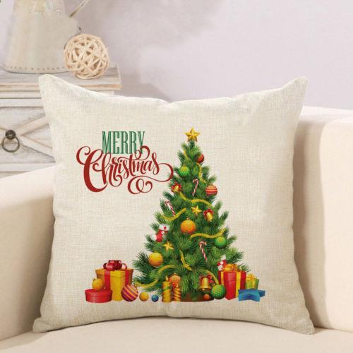 Funda de almohada de Navidad de Santa 11 Estilos de algodón de lino Sofá de coches Throw Cojín 2019 Año Nuevo Decoración Serie Feliz Navidad