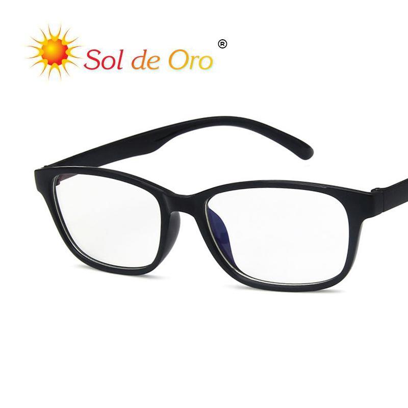 0f5f25c176 Compre SOL DE ORO Gafas De Espejo Plano Anti Azul Claro Hombres Y Mujeres  Gafas Antirradiación Marco Material De La PC Gafas De Montura Completa A  $34.05 ...