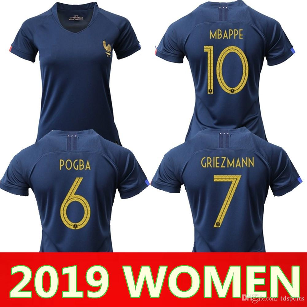 finest selection c4353 48b9d 2019 France MBAPPE GRIEZMANN POGBA women Soccer jersey Navy Football LEMAR  shirts Equipe coupe 2018 girl kit maillot de foot