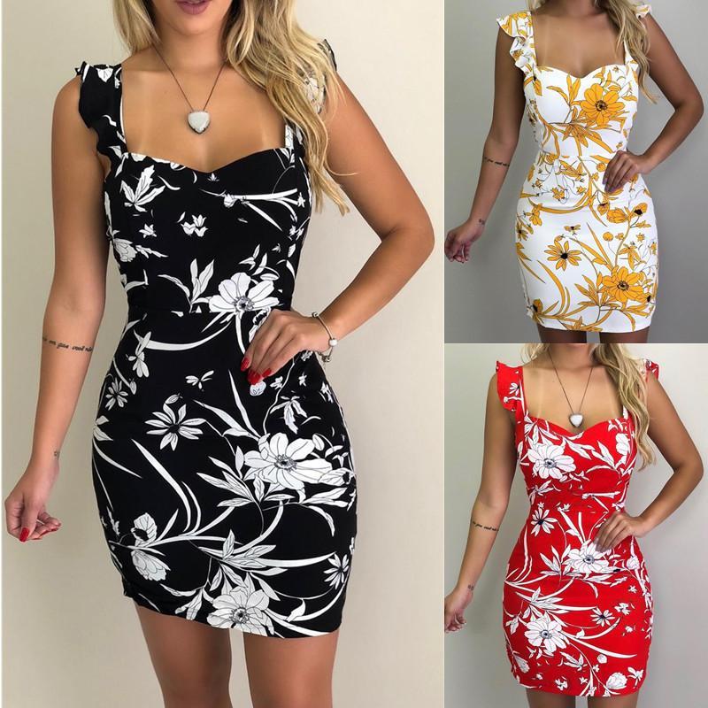 1c06ebf2ac40 2019 Quick-sale Explosives Women's Clothes Amazon Summer Sleeveless  Printing Dew Knapsack Buttocks Dress