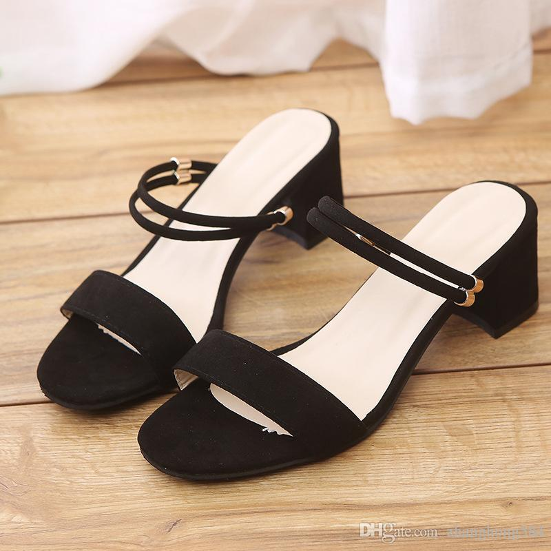 73547ab4d Two Han Edition Shoes Wear Cool Slippers Female Students Summer New Thick  With Fish Mouth And Pure Color Birkenstock Sandals Shoes For Women From ...