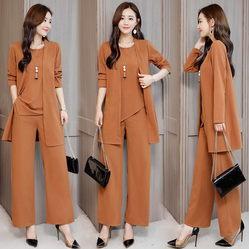6644f34b55f 5xl Plus Size Autumn Two Piece Set Top And Pants Office Lady Loose ...