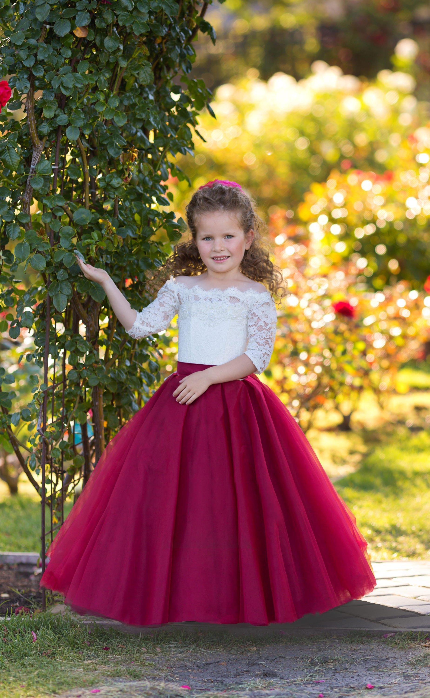 3067556761150 Off Shoulders Flower Girl Dress Burgundy Wedding A-line Lace Tulle Fancy  Little Girls Party Formal Occasion Princess Dress