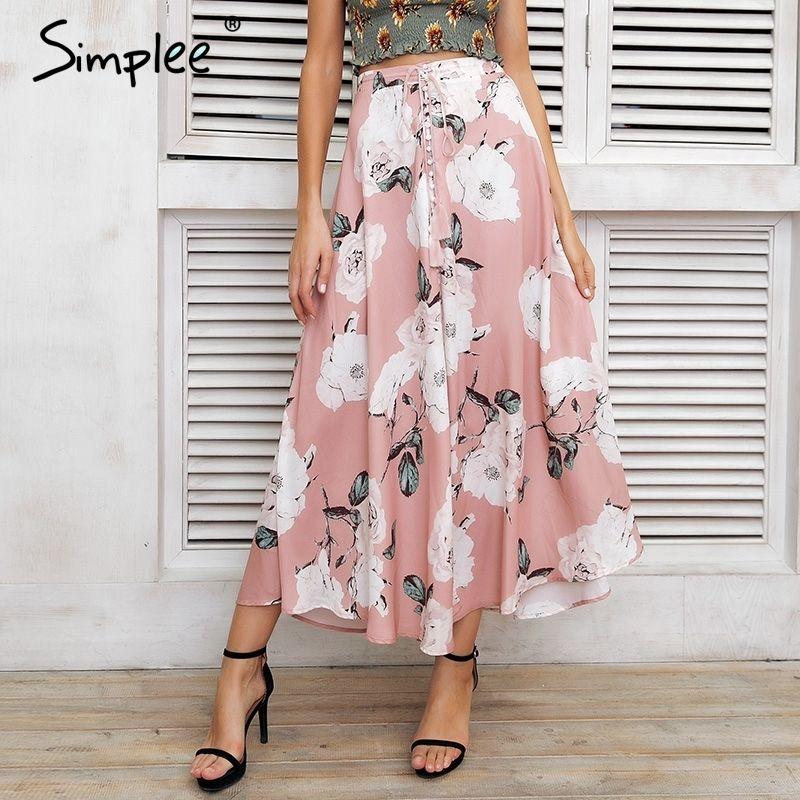 7f6605e55 2019 Simplee Tassel Floral Print Long Skirt Women Button Tie Up ...
